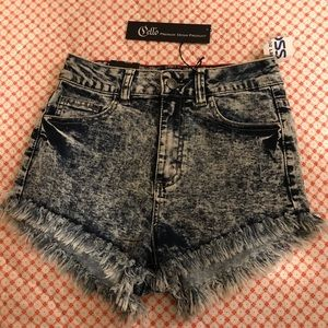 Cello acid wash denim shorts